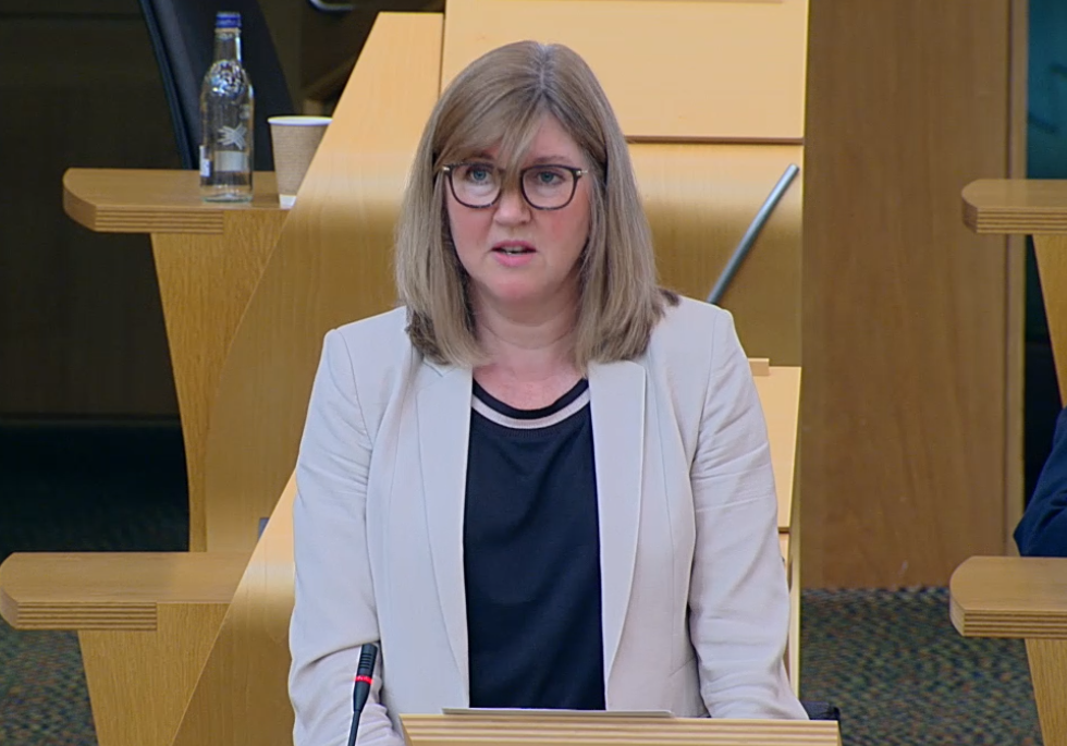 Alison Johnstone in Scottish Parliament chamber