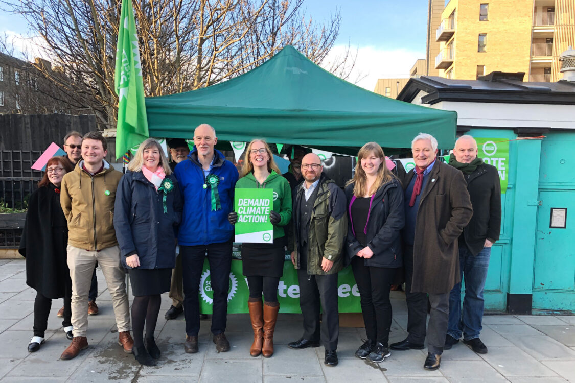 Lorna Slater with Patrick Harvie, Alison Johnstone, John Finnie, Steve Burgess and Green campaigners during the Leith Walk council by-election 2019