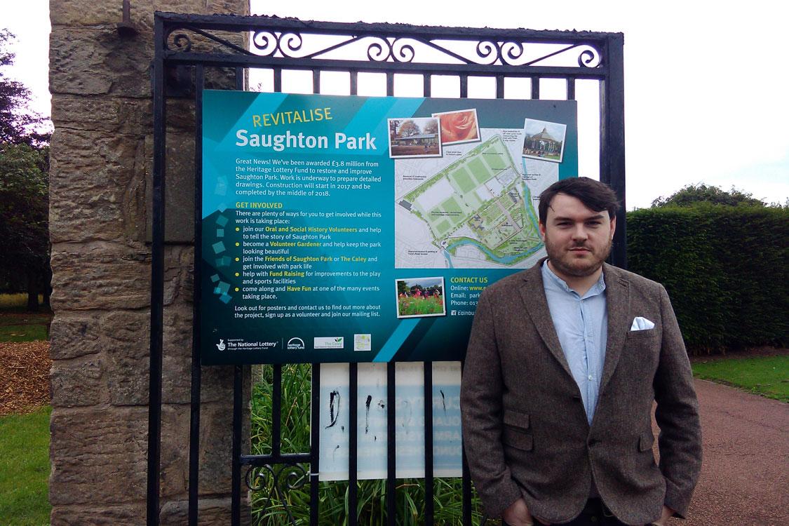 Dan Heap at gates to Saughton Park
