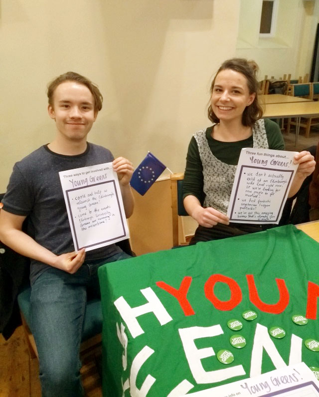 Edinburgh Young Greens Co-Convenors with banner