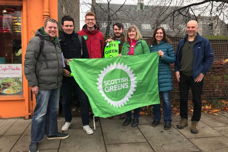 Fountainbridge / Craiglockert team holding up a Green Party banner