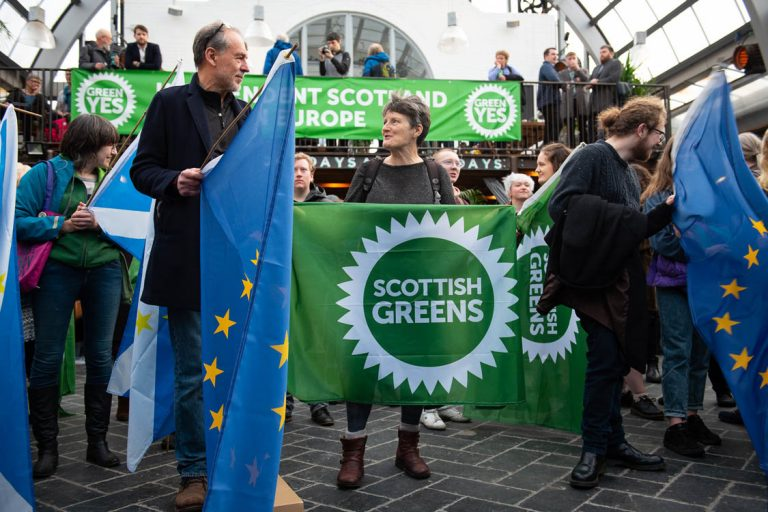 Green Yes rally with some European flags