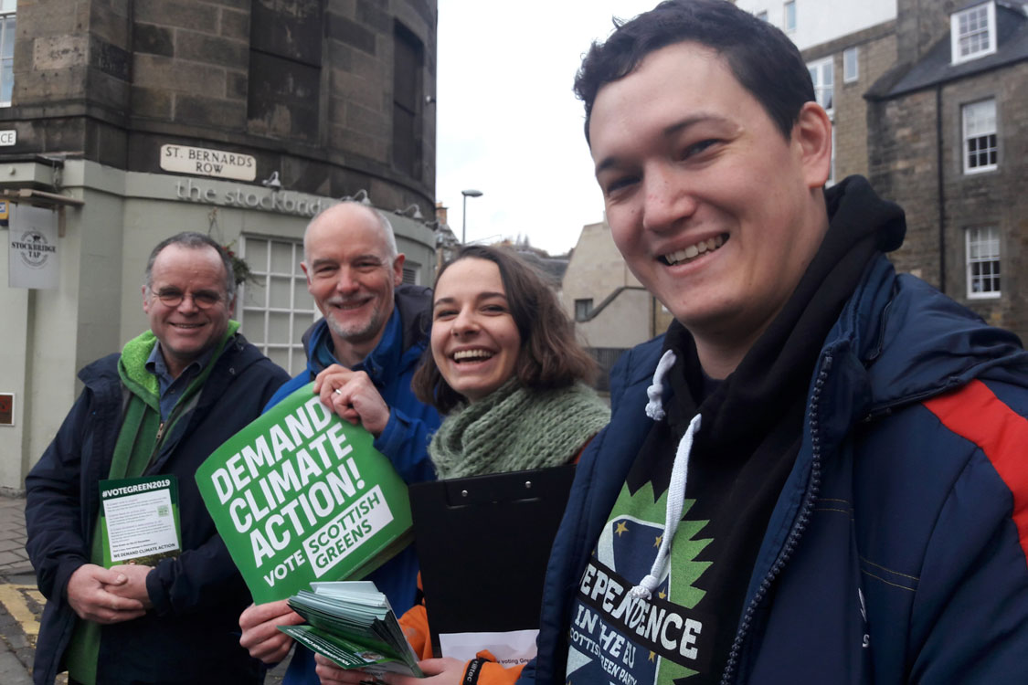 Andy Wightman, Steve Burgess, Julia Bandel and Tristan Gray out giving out leaflets