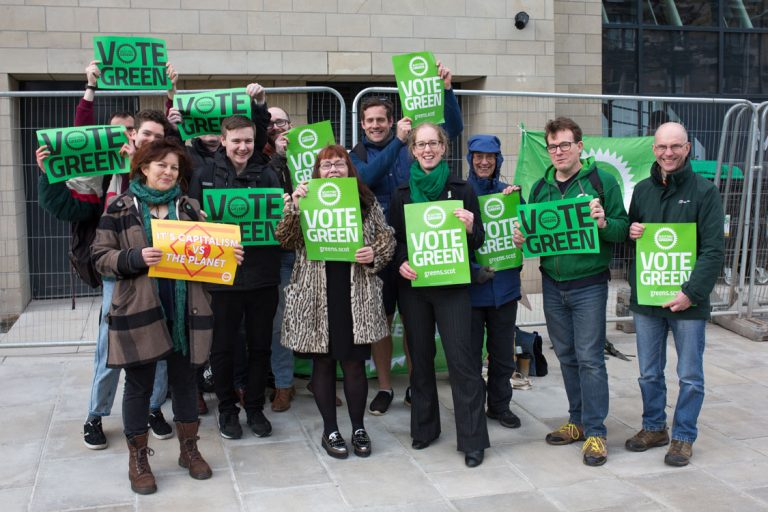 Group of Green campaigners on Leith Walk