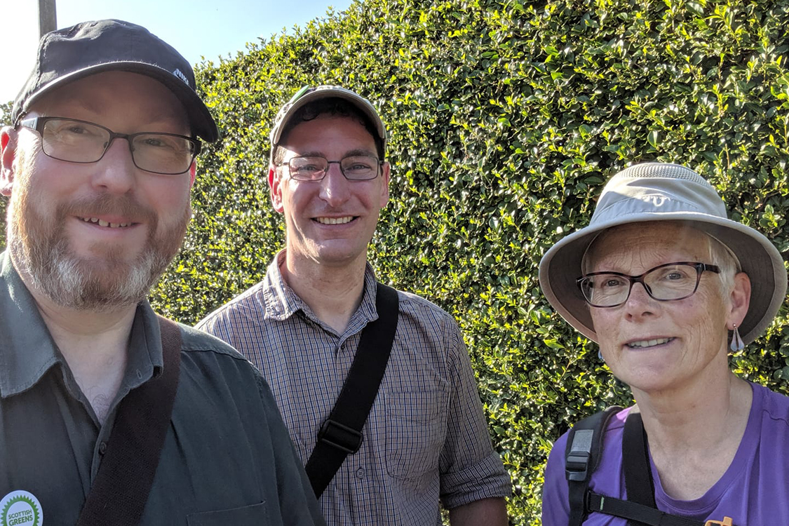 Three volunteers out canvassing