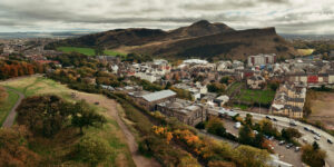 View of Old Town and Holyrood Park from Carlton Hill