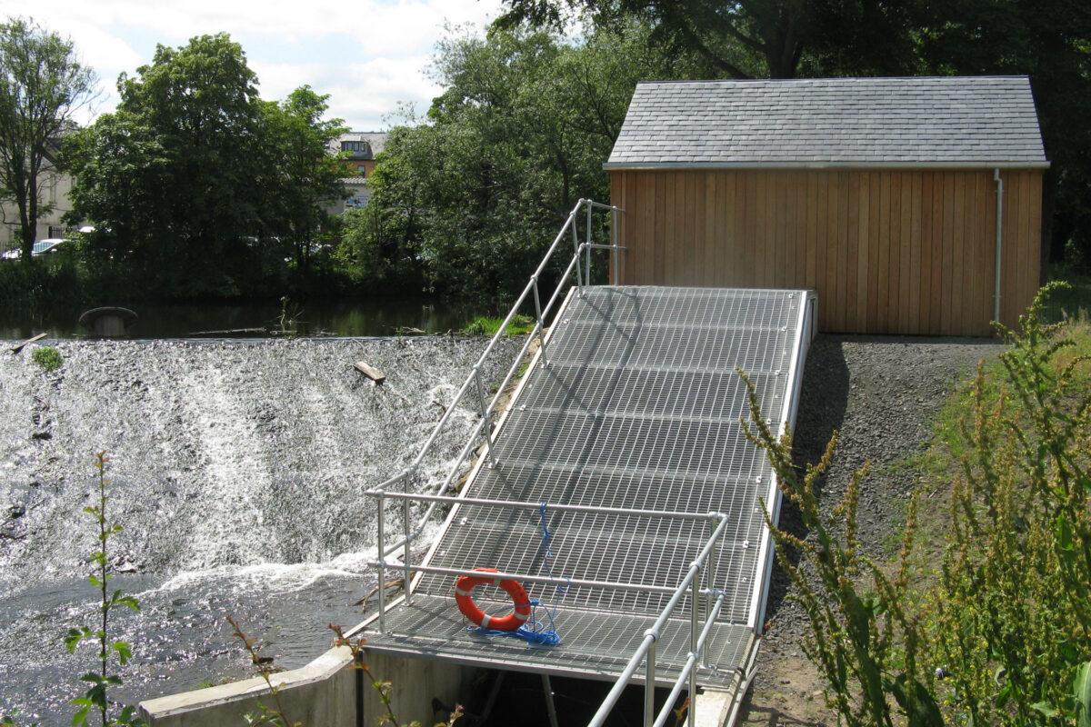 Saughton Park Archimedes screw and generator house © M J Richardson