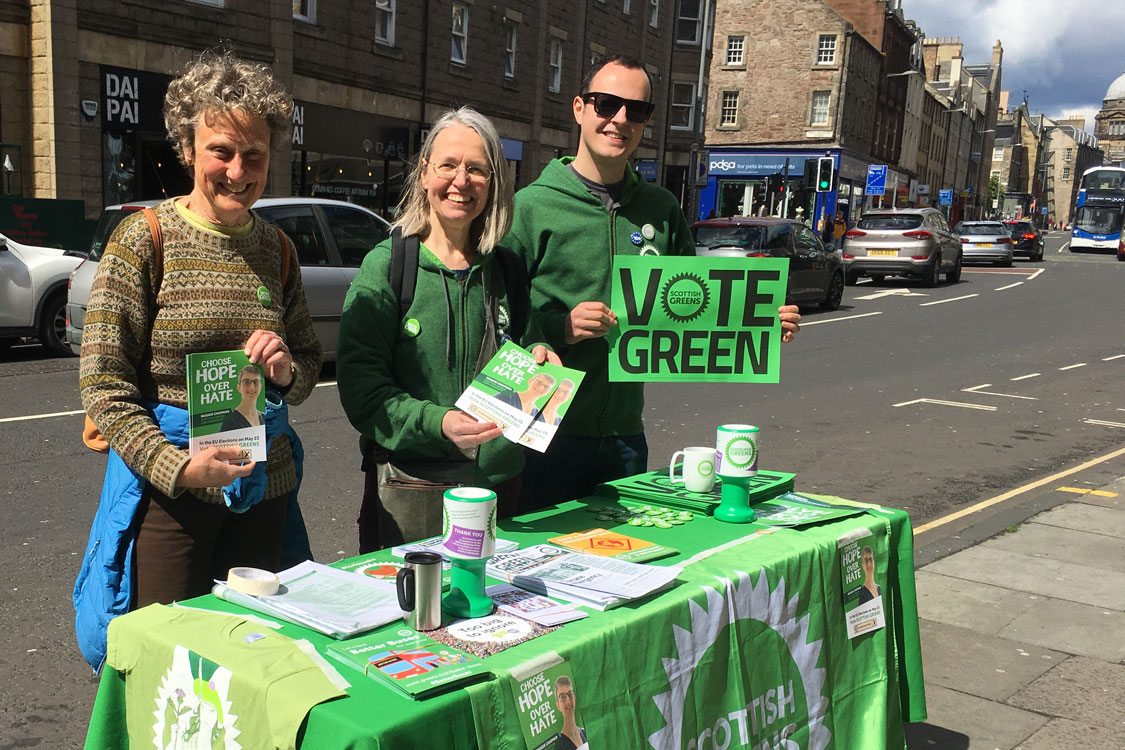 Three campaigns on road side stall in the Southside of Edinburgh