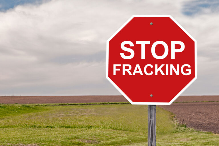 Red 'Stop Fracking' sign