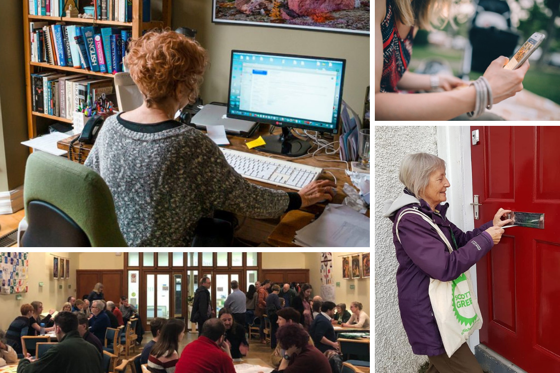 Shows various places for volunteering: at home on your computer, joining in a consultative meeting, posting on social media, delivering leaflets