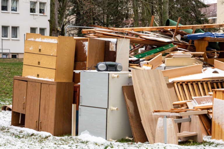 Pile of furniture in the snow